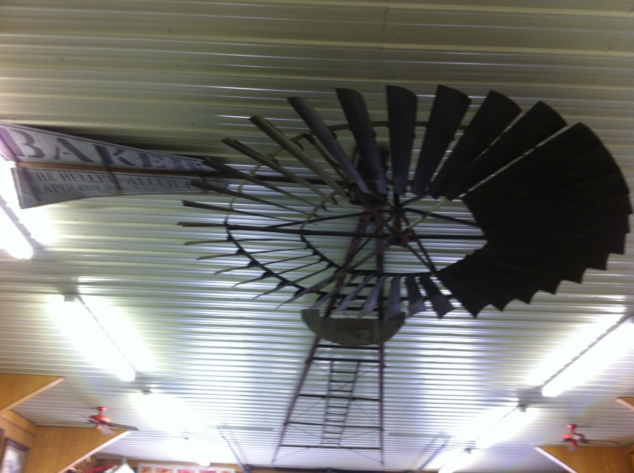 Windmill on the ceiling is just one of the unique items on display at the Kenny Bush museum in Milan, Il